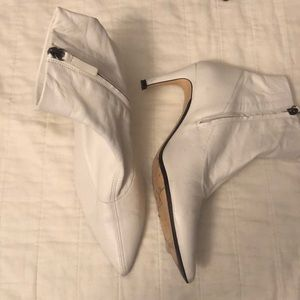 White Zara stretch leather booties